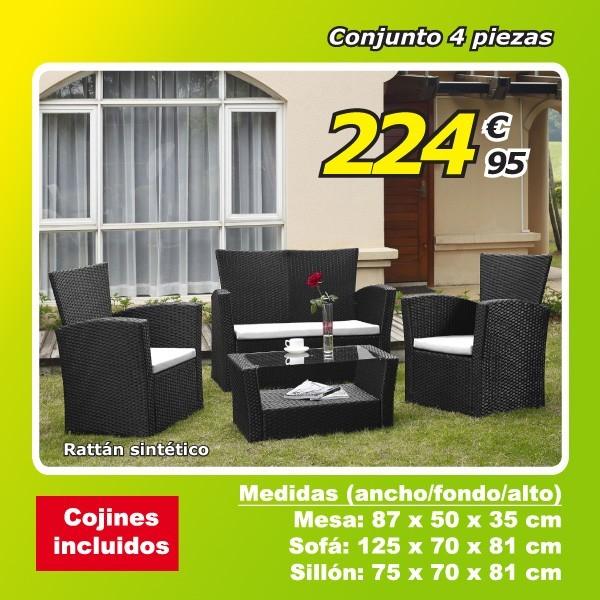 Conjunto Jardín Bolonia (1 sofá, 2 sillones y 1 mesa)