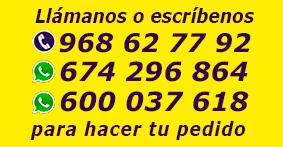 LLámanos al  968 62 77 92  para hacer tu pedido
